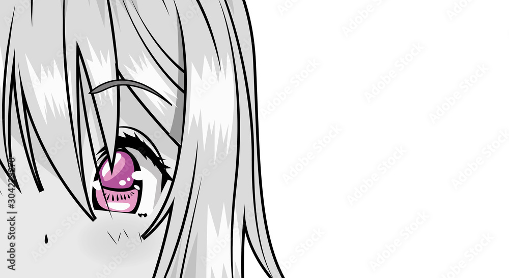 Fototapeta face young woman monochrome anime style character