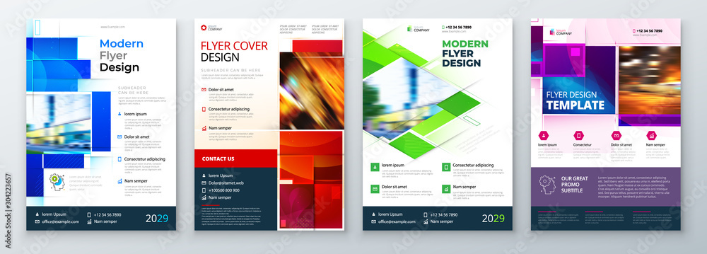 Fototapeta Flyer Template Layout Design. Corporate Business Flyer, Report, Catalog, Magazine Mockup. Creative modern bright concept with square shapes