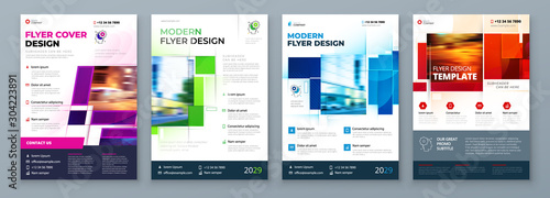 Obraz Flyer Template Layout Design. Corporate Business Flyer, Report, Catalog, Magazine Mockup. Creative modern bright concept with square shapes - fototapety do salonu