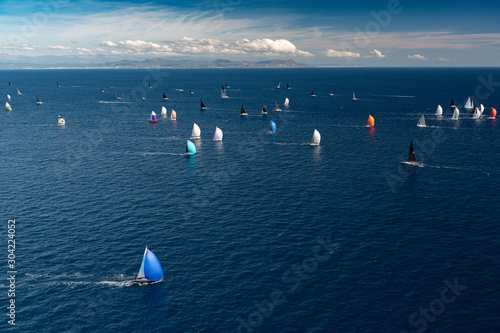 Canvas Print French Riviera - modern sail race large panorama above aerial view in St -Tropez