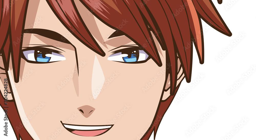 twarz młodego człowieka w stylu anime
