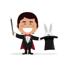 Isolated Boy Dressed As A Magician Illusionist. Vector Illustration