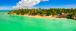 canvas print picture - Pigeon Point, Tobago, Trinidad and Tobago, Caribbean, West Indies, small beach in Trinidad and Tobago with an amazing lagoon, aerial panorama view.