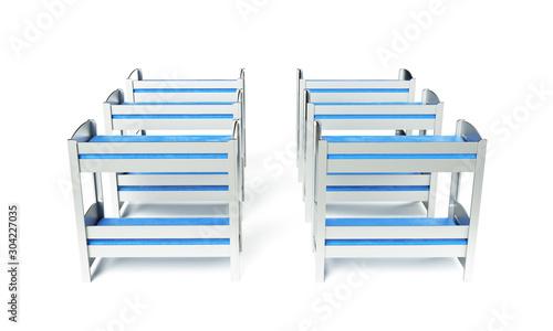 Foto auf Leinwand Katze 3d render of bunk bed on a white background