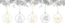 Hand Drawn Christmas Ball Illustration With Fir Branches. Doodle And Sketch Vector Design.