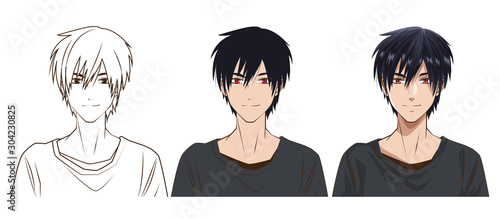 drawing process of young man anime style character - 304230825