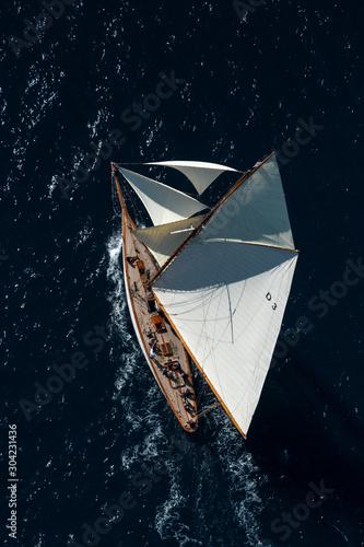 Fototapeta French Riviera -Tuiga sail race straight above aerial view in St -Tropez obraz