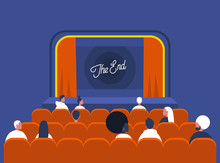 Entertainment And Culture, Audience Sitting In A Vintage Cinema Theatre With Red Curtains And Old Fashion Interior, The End Of The Movie
