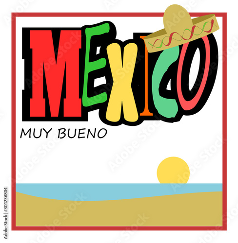 Mexico design with calm ocean and sunset #304236804
