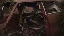 Inside An Old Scraped Rusty Ca...