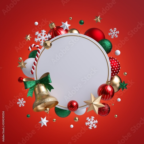 Fotobehang Vrouw gezicht 3d Christmas round wreath isolated on red background. Golden bell with green bow. Blank frame, white banner, xmas ornaments, glass balls, snowflakes, stars and candy cane. Seasonal festive clip art