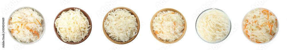 Fototapeta Set of tasty fermented cabbage isolated on white, top view. Banner design - obraz na płótnie