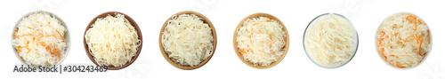 Fototapeta Set of tasty fermented cabbage isolated on white, top view. Banner design obraz na płótnie