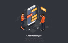 Isometric Mobile Chat Dialog, ...