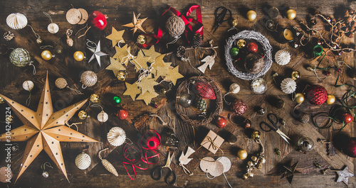 Photo  Christmas, New Year holiday layout background, texture, wallpaper
