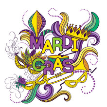 Mardi Gras Or Shrove Tuesday. Colorful Background With Carnival Mask And Hats, Jester's Hat, Crowns, Fleur De Lis, Feathers And Ribbons. Vector Illustration