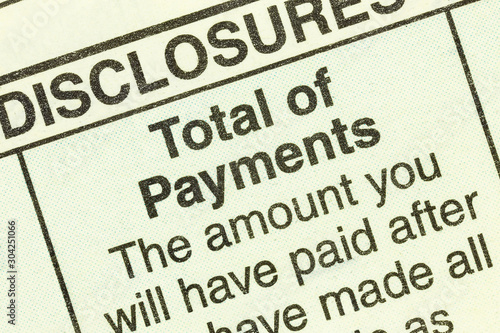 Close up macro view of total number of loan payments detail in the standard federal truth in lending section on an automobile purchase loan form. #304251066
