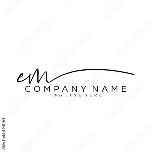 Photo Initial letter EM Signature handwriting Logo Vector