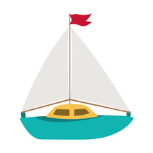 Isolated Sailboat Toy Vector D...