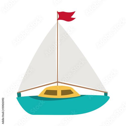 Isolated sailboat toy vector design Obraz na płótnie