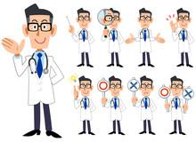 9種類の医者の上半身のポーズと仕草のイラスト 全身