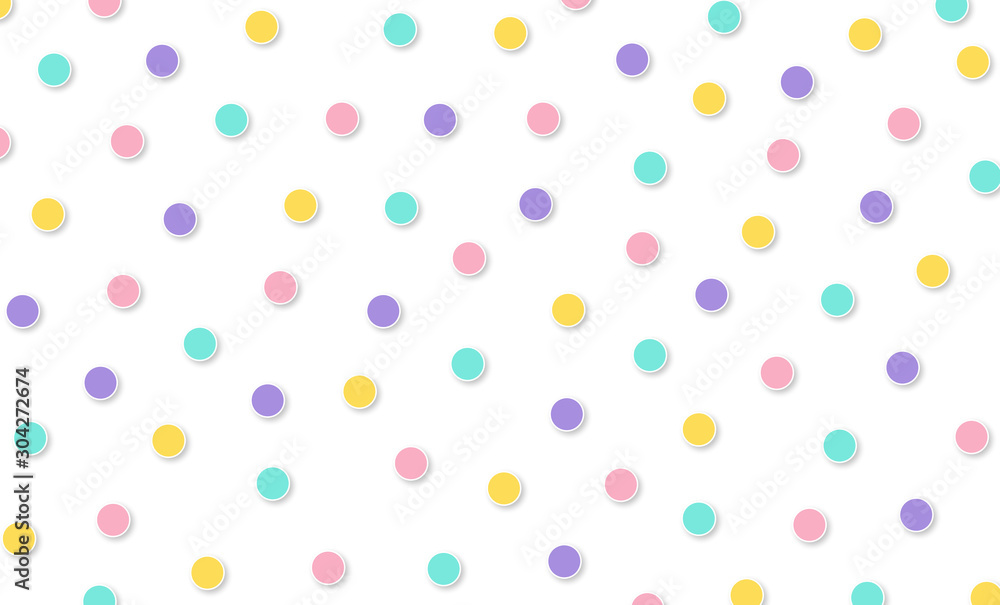Fototapety, obrazy: Festival pattern Abstract kawaii pattern polka dot circle background. Soft gradient pastel. Concept for wedding card design or presentation