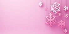 Winter Abstract Design Creative Concept, Hanging Snow Icon Confetti Glitter On Pink Background. Copy Space Text Area. 3D Rendering Illustration.
