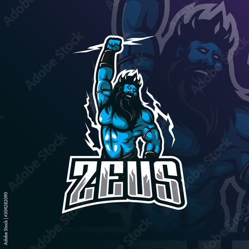 zeus mascot logo design vector with modern illustration concept style for badge, emblem and tshirt printing Wallpaper Mural