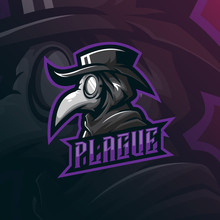 Plague Doctor Mascot Logo Design Vector With Modern Illustration Concept Style For Badge, Emblem And Tshirt Printing. Doctor Plague Illustration.
