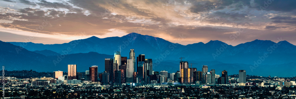 Fototapety, obrazy: Los Angeles Skyline at sunset