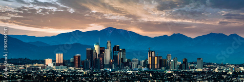 Los Angeles Skyline at sunset - 304284431