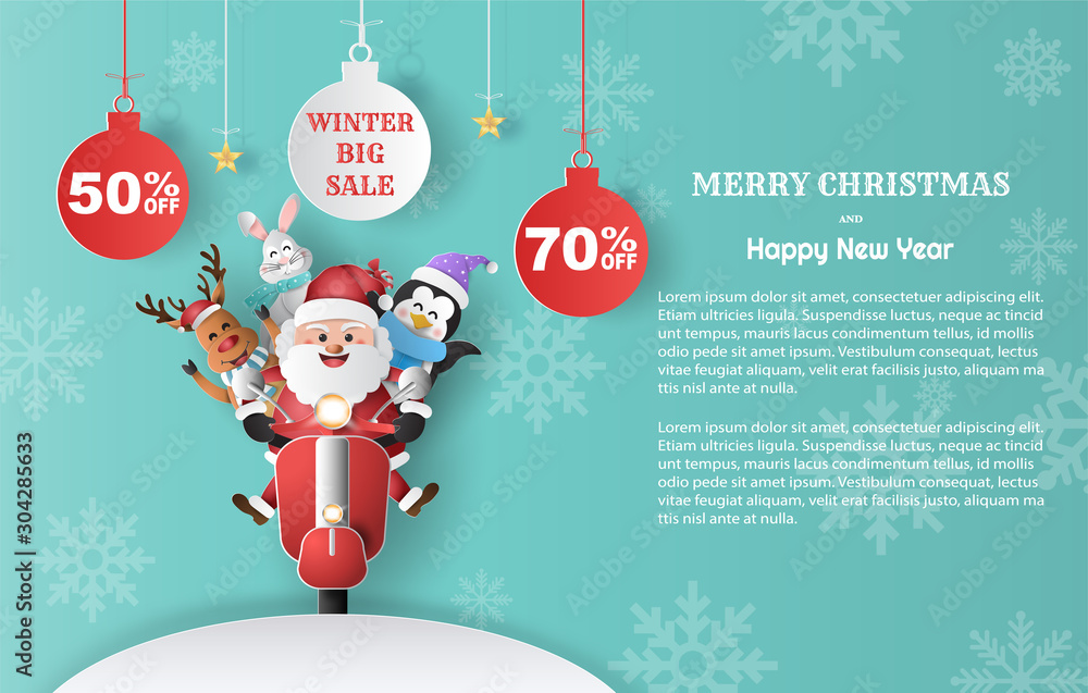 Fototapeta Paper art style of Santa Claus with friends on scooter, winter sale promotion banner with discount offer on special occasion.