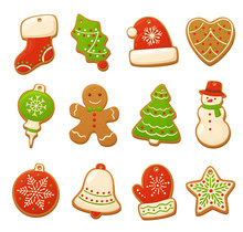 Cartoon Gingerbread Cookies For Celebration Design. Christmas Vector Elements For Illustration, Cards, Banners And Holiday Backgrounds. Delicious Homemade Cookies. Festive Decorations