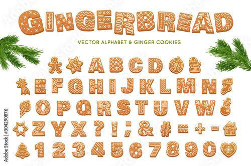 Gingerbread alphabet for decoration design Slika na platnu