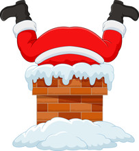 Cartoon Santa Claus Stuck In The Chimney