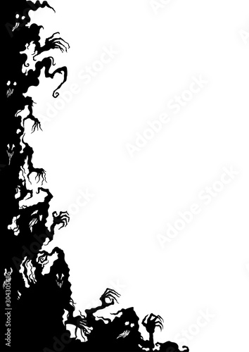 Ghosts vertical corner/ Illustration fantasy grotesque corner with ghost creatur Wallpaper Mural