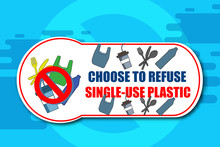 Creative Artwork Of Stop/prohibition Sign Over Plastic Fork, Straw, Spoon On Blue Background. India To Ban Single Use Plastic. Environmental Concept.