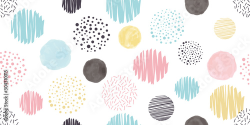 Cute geometric background. Seamless pattern.Vector. かわいい幾何学パターン - 304310015