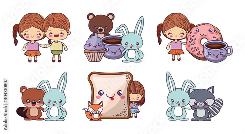 Kawaii cartoons icon set vector design - 304310807