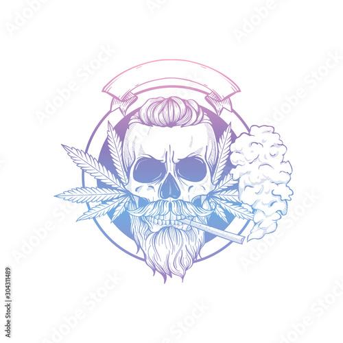 Valokuvatapetti Sketch, skull with hemp leaf