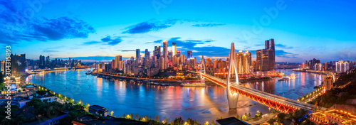 Night city architecture landscape and colorful lights in Chongqing