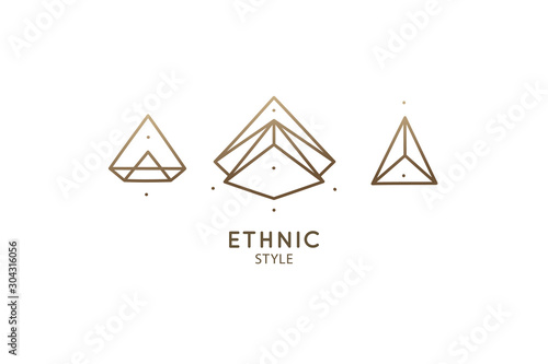 Linear abstract logo diamond Fototapet
