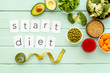 Start diet text near healthy food on green wooden background top view