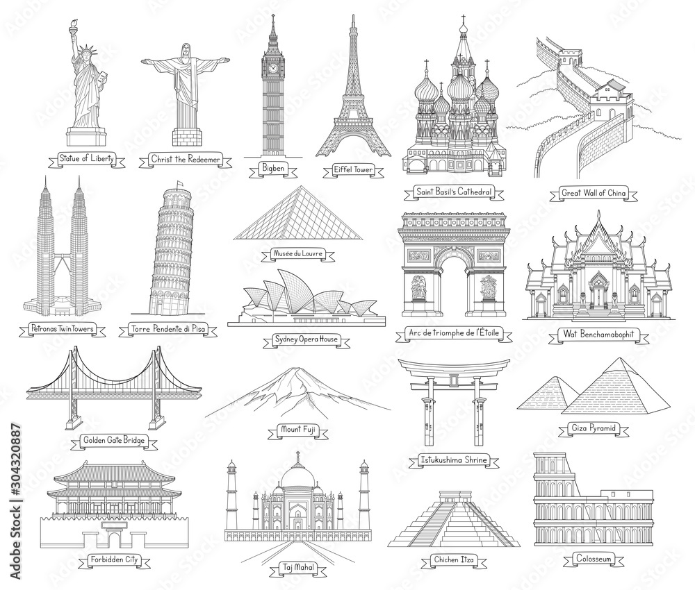 Fototapeta Travel doodle art drawing style vector illustrations. Famous landmarks in the world.