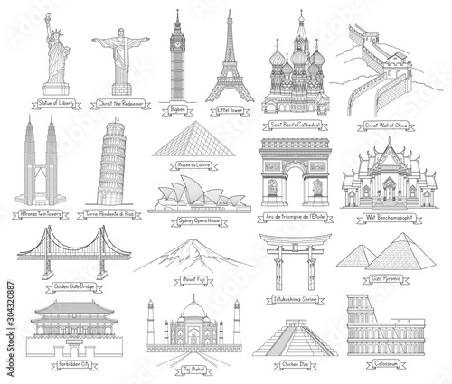 Travel doodle art drawing style vector illustrations. Famous landmarks in the world. Fotomurales