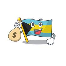 Flag Bahamas Cartoon With In H...