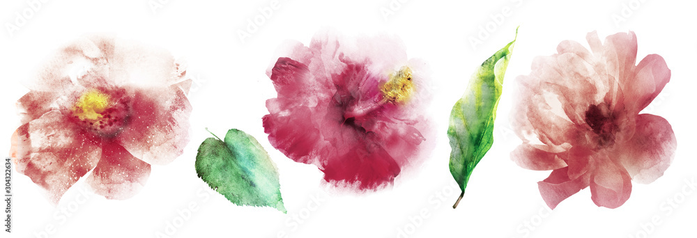 Watercolor flowers with leafs. Set