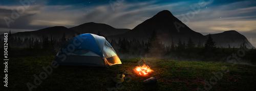 Obraz panoramic / tent under the starlight - fototapety do salonu