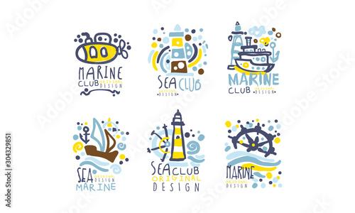 Fototapeta Hand Drawn Marine Labels and Logos Original Design Vector Set obraz