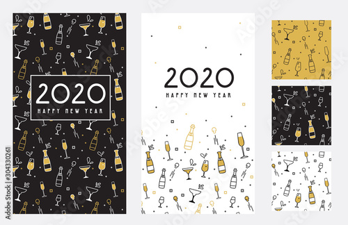 Obraz Happy New Year- 2020 . Collection of greeting background designs, New Year, social media promotional content. Vector illustration - fototapety do salonu